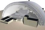 Le projet du sarcophage enfermant le réacteur 4 de Tchernobyl, une enceinte de 108 mètres de hauteur soutenue par une arche d'acier constituée d'une double structure de poutres, de 12 mètres d'épaisseur.