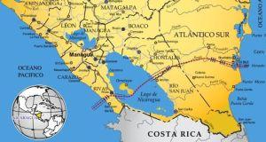 Tracé du projet de canal interocéanique du Nicaragua figurant dans le projet officiel de 2006.
