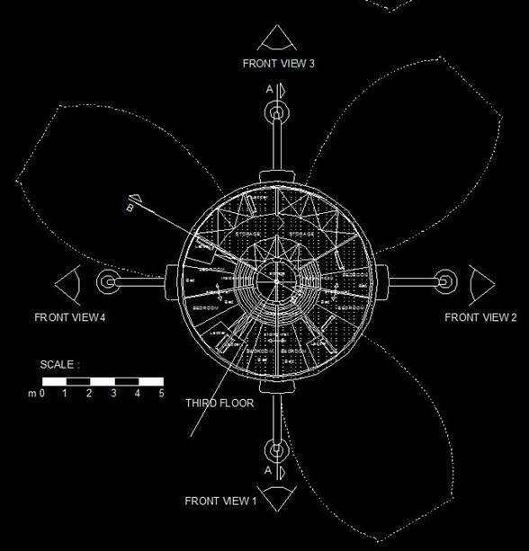 Vue en plan du projet Mars Direct One