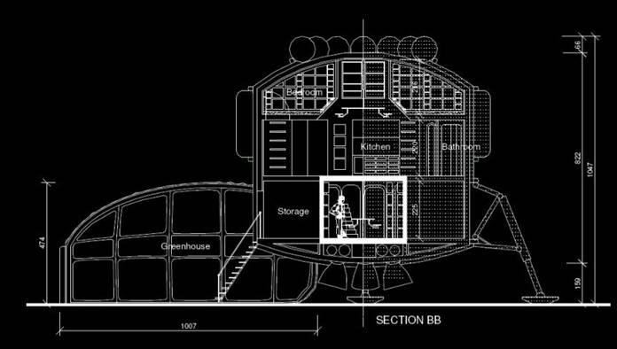 Coupe du module de vie central du projet Mars Direct One