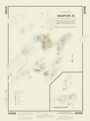 La carte des odeurs de New Port. Crédits Kate McLean