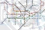 La carte principale, avec une barre d'informations affichant le nombre de trains sur chaque ligne