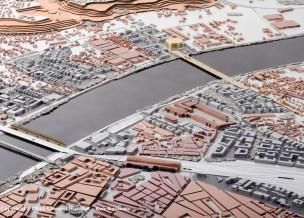 Localisation du pont - maquette bordelaise. Crédits photo : Clément Blanchet / Rem Koolhaas / OMA