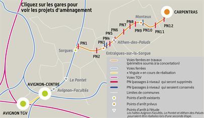"""Le projet de réouverture de la ligne TER Avignon-Carpentras comprenait la création de """"la virgule d'Avignon"""". Document RFF"""