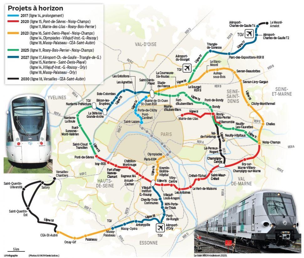 Grand Paris Express - Projets en cours. Source : Le Parisien