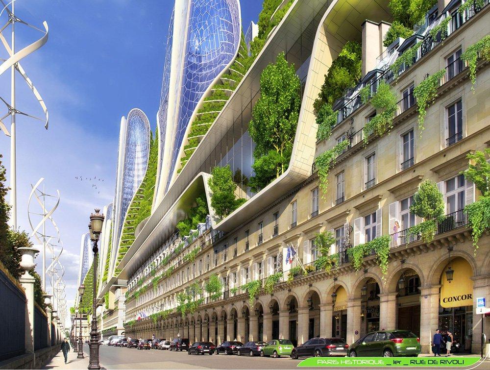 Mountain Towers - Rue de Rivoli - Paris Smart City 2050 - © Vincent Callebaut