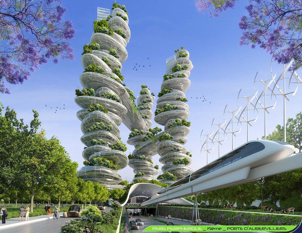 Farmscapers Towers - Porte d'Aubervilliers - Paris Smart City 2050 - © Vincent Callebaut