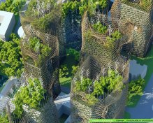 Bamboo Nest Towers - Boulevard Masséna - Paris Smart City 2050 - © Vincent Callebaut