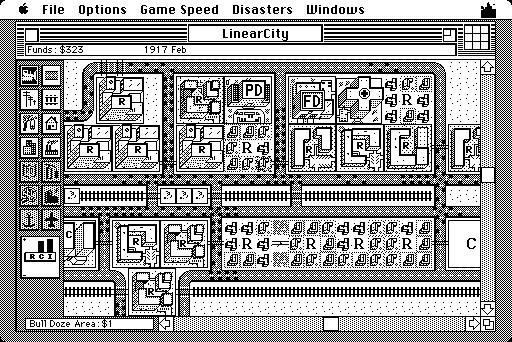 La première version du jeu vidéo Sim City en 1989