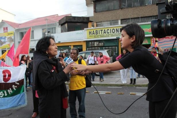 Patricia, architecte militante de Guayaquil qui accompagne les habitant-e-s de Monte Sinaí, interviewée à Quito pendant la manifestation du 17.10.2016