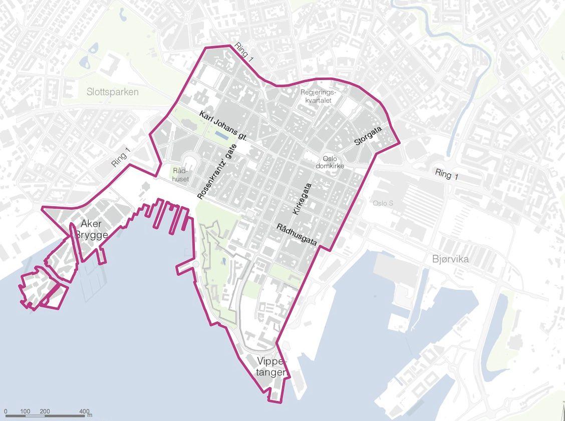 La zone sans voiture proposée pour le centre-ville d'Oslo