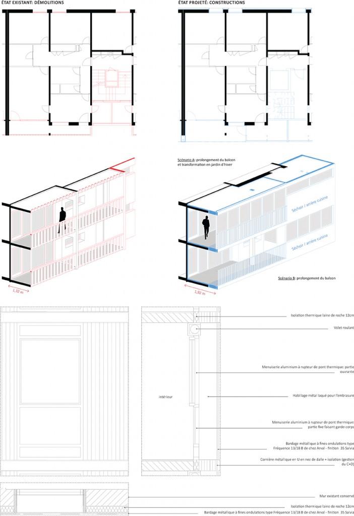 Travail sur la façade sud - Les Myrtilles - MixCité'2017 - THINK TANK Architecture