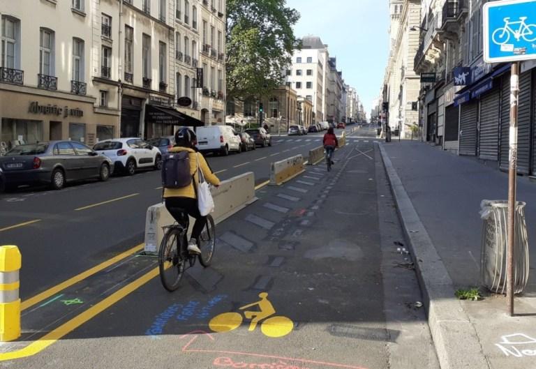 Une piste cyclable temporaire à Paris, le 7 mai 2020 ©Ville de Paris