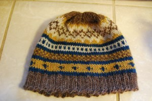 This hat used up a lot of odds and ends left in the yarn basket.