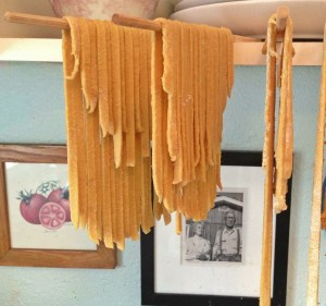 Hang the noodles.  You can let them dry completely and store in a ziplock bag, use immediately or freeze them.