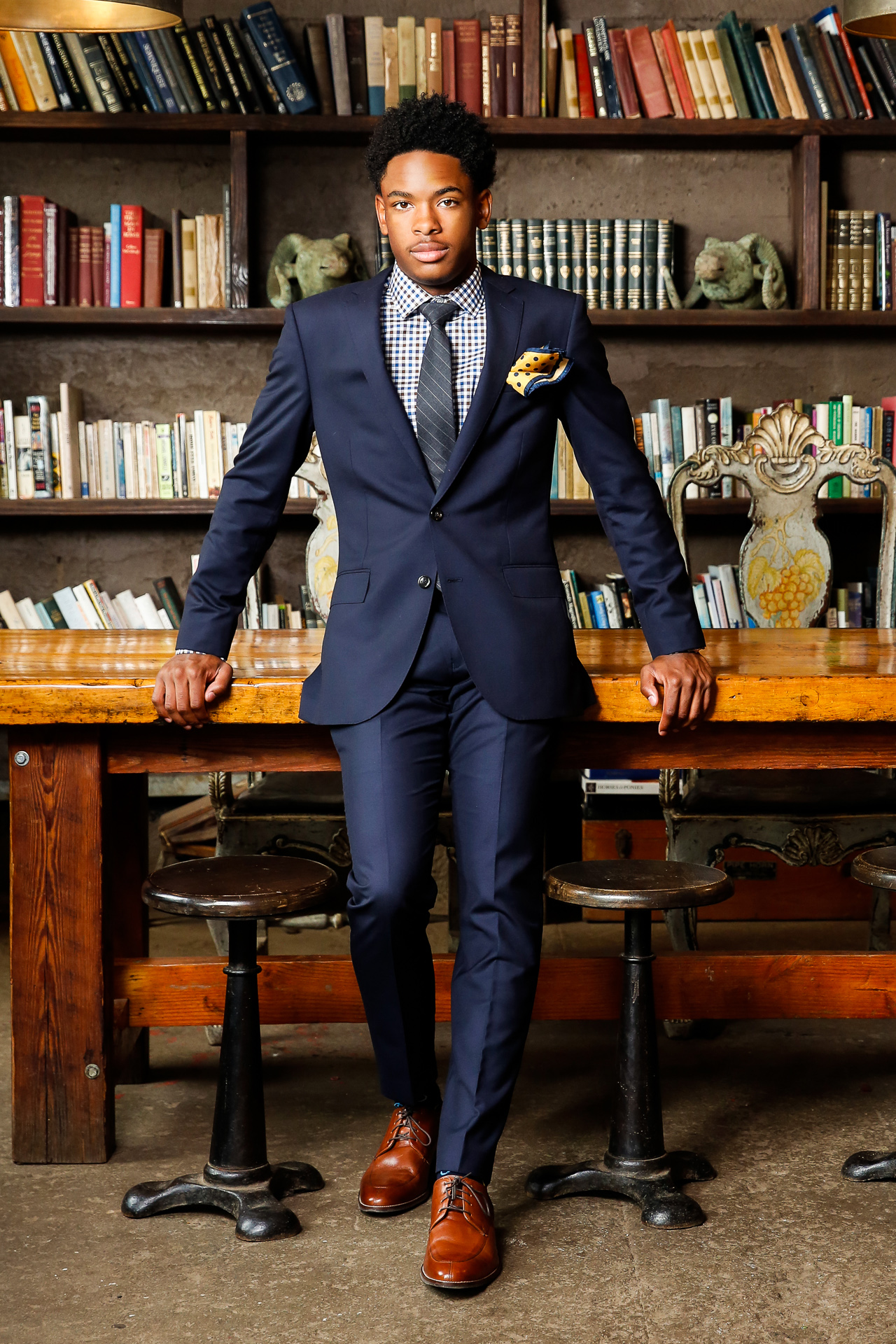 Young African American Atlanta male GQ high school senior portraits. Award winning, top Georgia female portrait photographer.