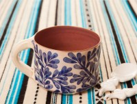 Handmade Pottery Coffee Mugs with Blue and White flowers