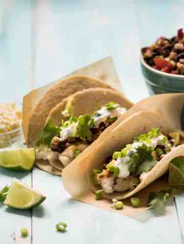 Grilled Fish Tacos with Lime-Cilantro Sauce