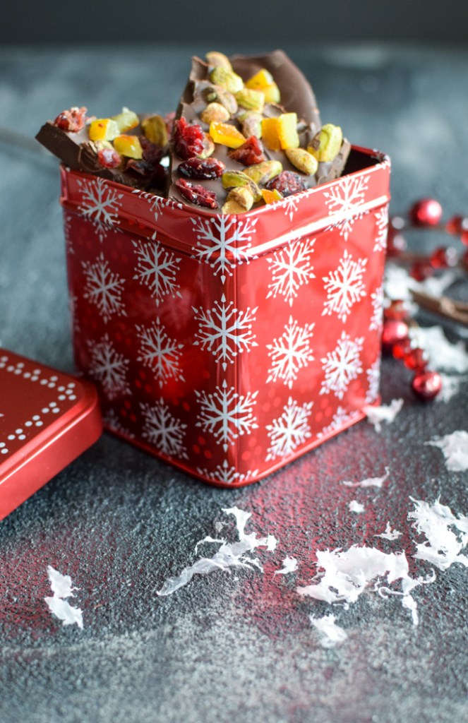 Dark Chocolate Bark in a red holiday gift tin
