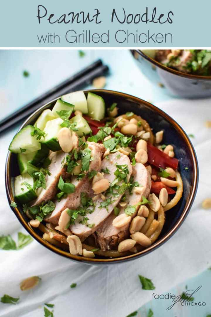 These Thai peanut noodles topped with grilled chicken are more than a little bit addictive! They are great to make ahead of time so you can grab them an easy weekday lunch or a quick weeknight meal!