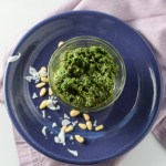 Kale Pesto in a small glass dish