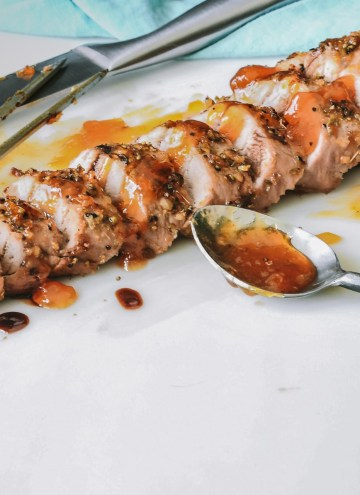 Grilled pork tenderloin glazed with an apricot sauce