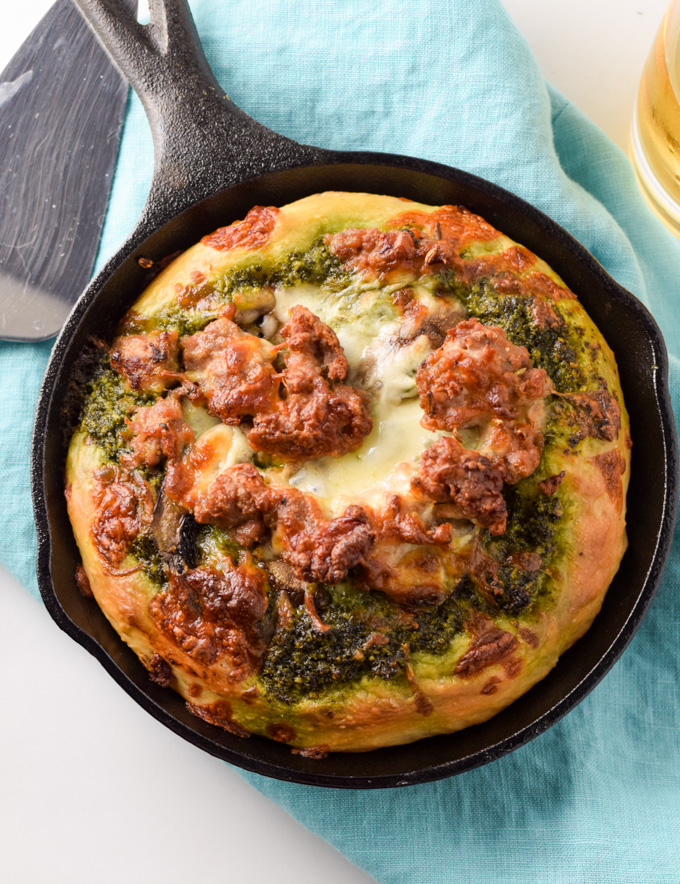 Mini Skillet Pizza with Kale Pesto & Italian Sausage