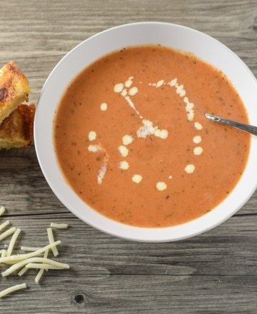 Easy Tomato Bisque with Grilled Cheese Sticks