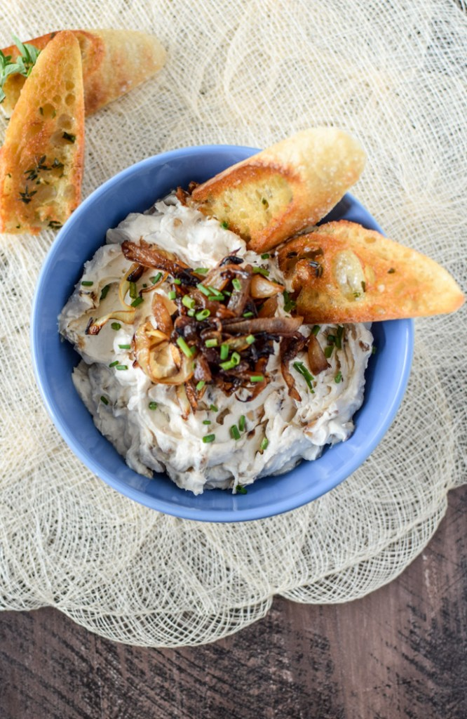 Caramelized Onion Dip with toasted baguette