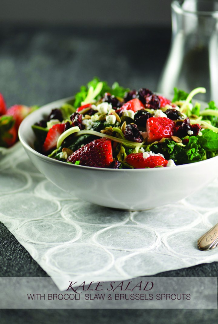 Kale Salad with Broccoli Slaw & Brussels Sprouts