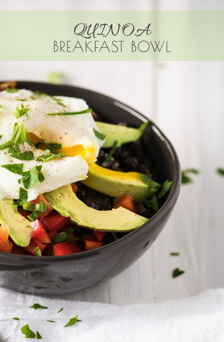Quinoa Breakfast Bowl with black beans, avocado and caramelized onions