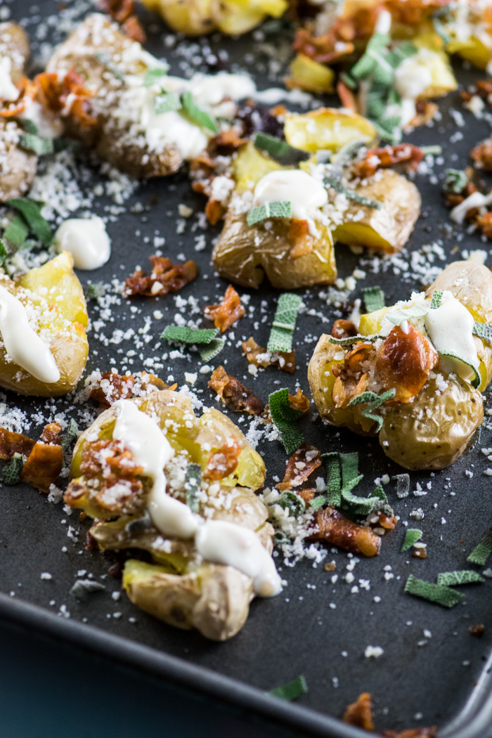 Smashed Potatoes with Sage Sauce