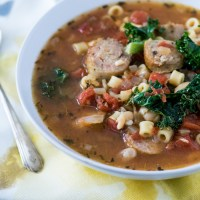 Tuscan White Bean Soup with Sausage + Kale