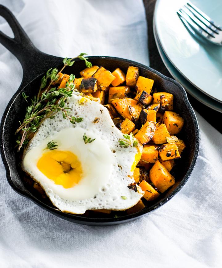 breakfast Sweet Potato Hash with poached egg