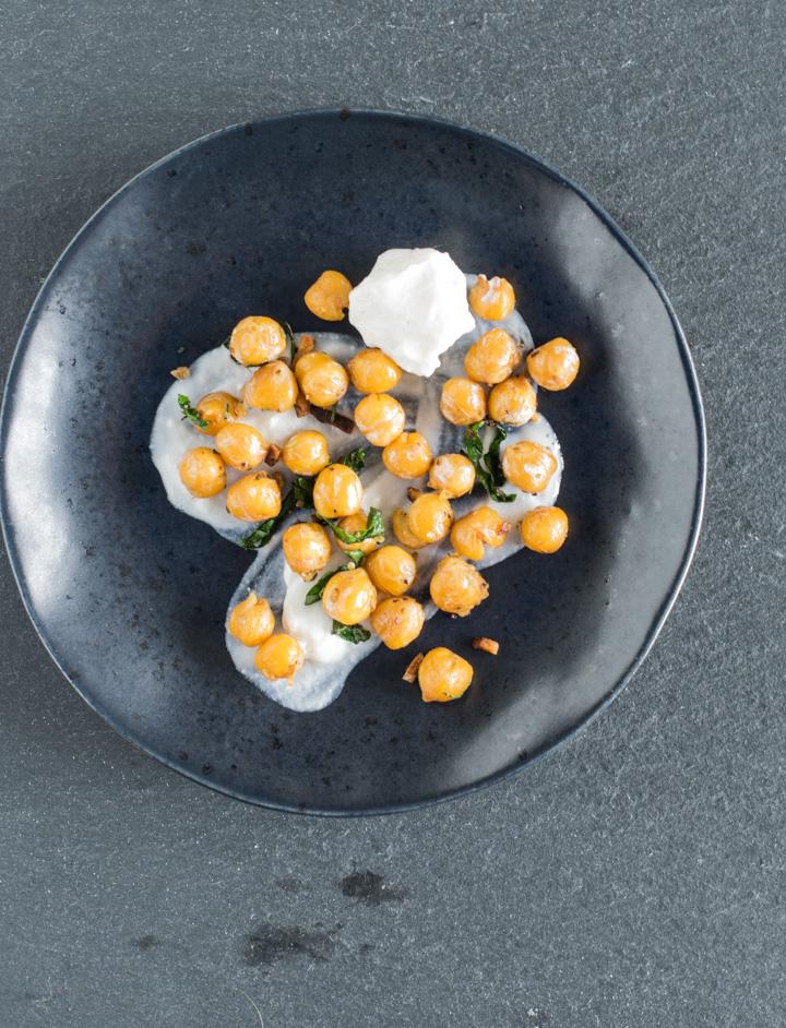 Crispy Herbed Chickpeas in yogurt
