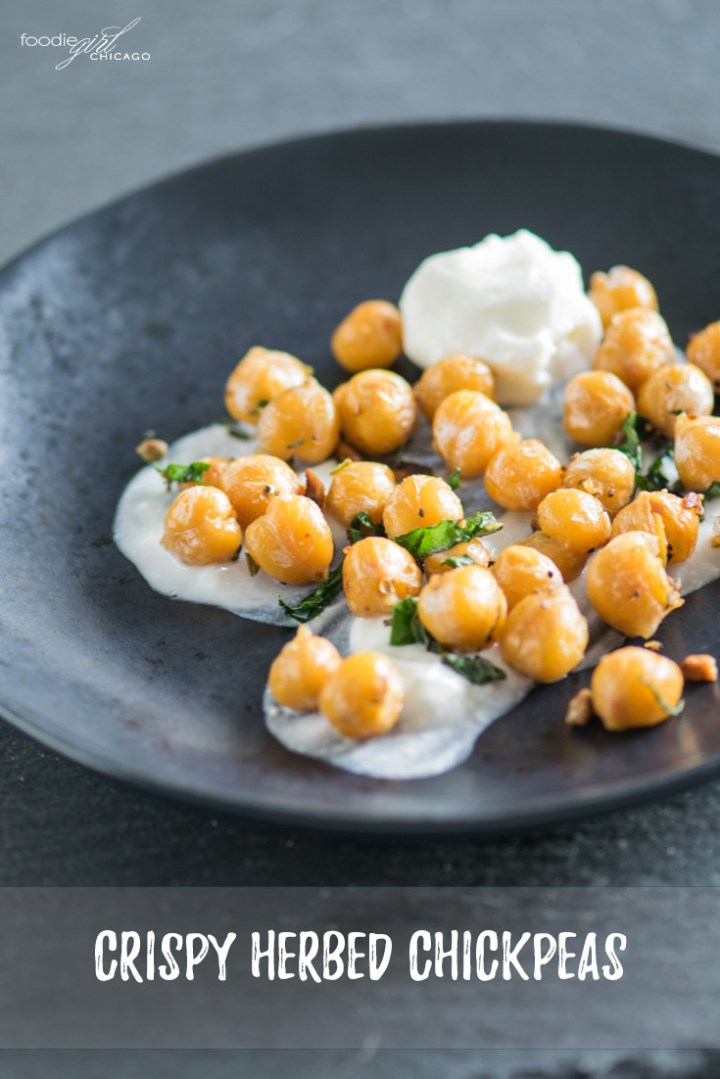 These crispy chickpeas are seasoned with fresh herbs to make an amazing addition to salads, hummus or even sandwiches!