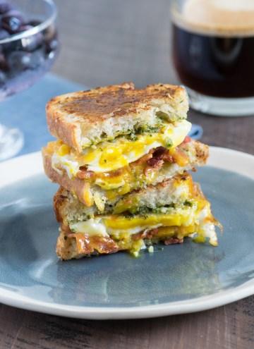 Cheesy Toasted Pesto Egg Breakfast Sandwiches