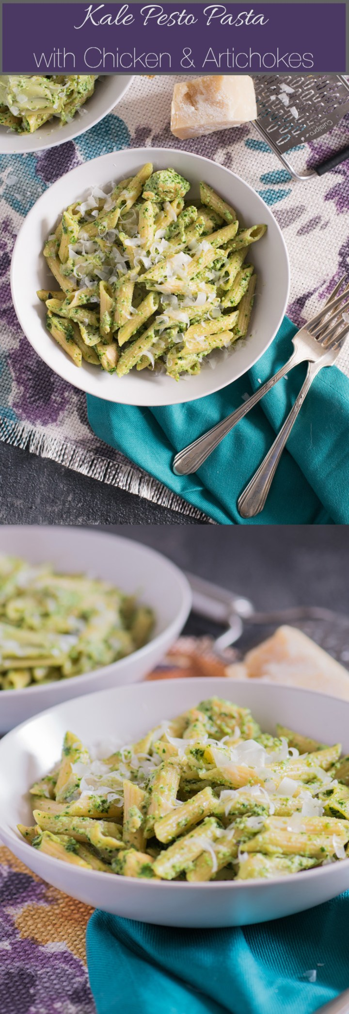 This chicken and artichoke pasta gets topped with creamy kale pesto sauce for healthier comfort food!