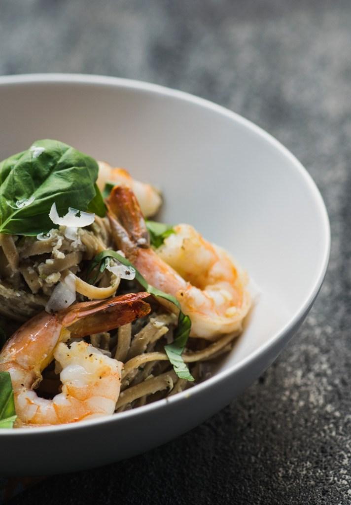 Shrimp Linguine with Lemon Artichoke Pesto close up