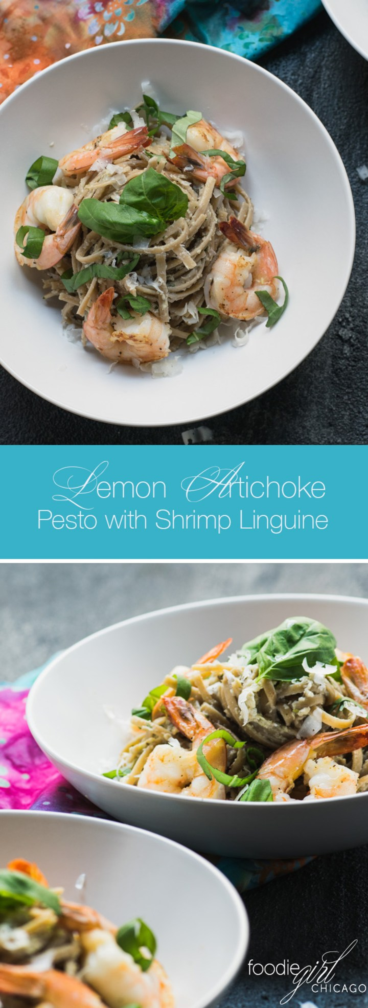 Lemon Artichoke Pesto with Shrimp Linguine