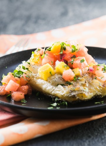Grilled Sea Bass with Watermelon Mango Salsa