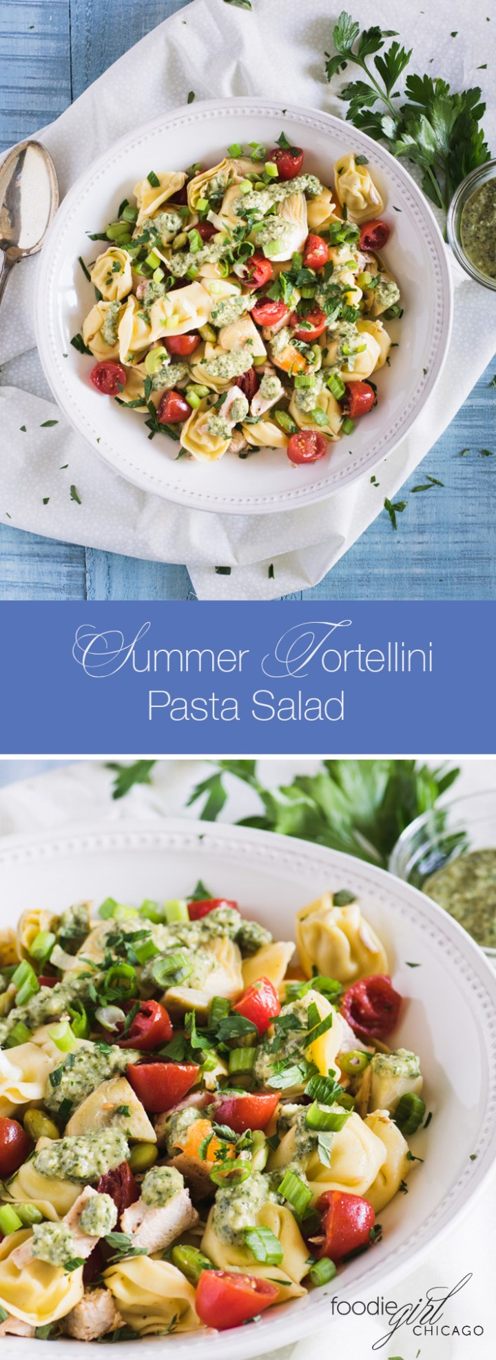 This lovely summer pasta salad is loaded with fresh veggies and topped with a delicious pesto dressing to give it an extra pop of flavor!