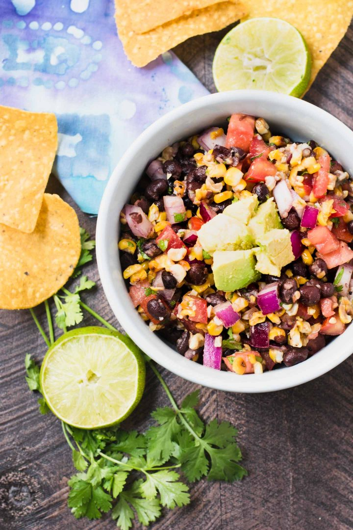 This grilled corn & black bean salsa is the perfect summer party dip
