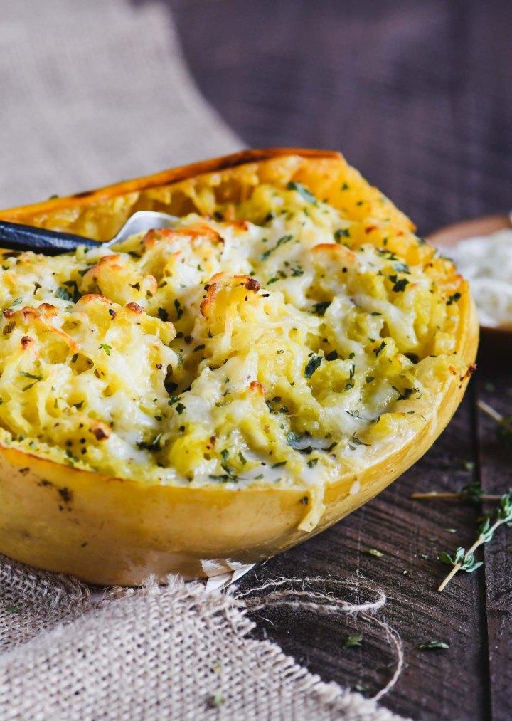 This cheesy garlic spaghetti squash....