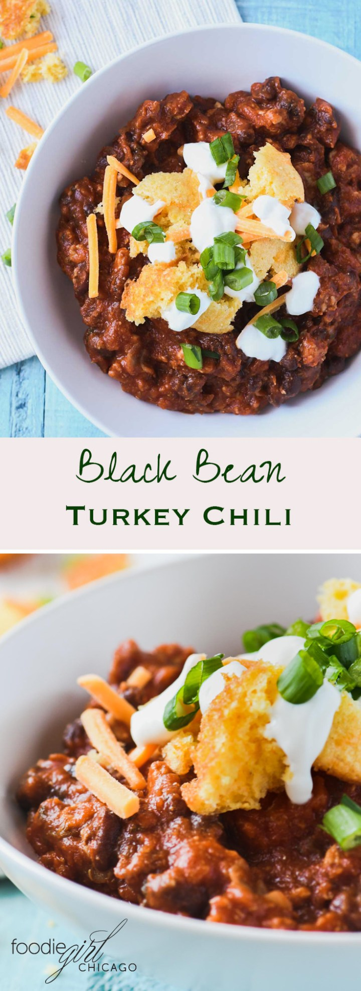 This healthy turkey chili recipe is made with black beans and Amber beer then topped with jalapeño cheddar cornbread bites for a tasty weeknight meal on a cold winter evening!