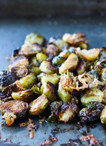 Crispy Roasted Brussels Sprouts with Parmesan and Pomegranate Syrup