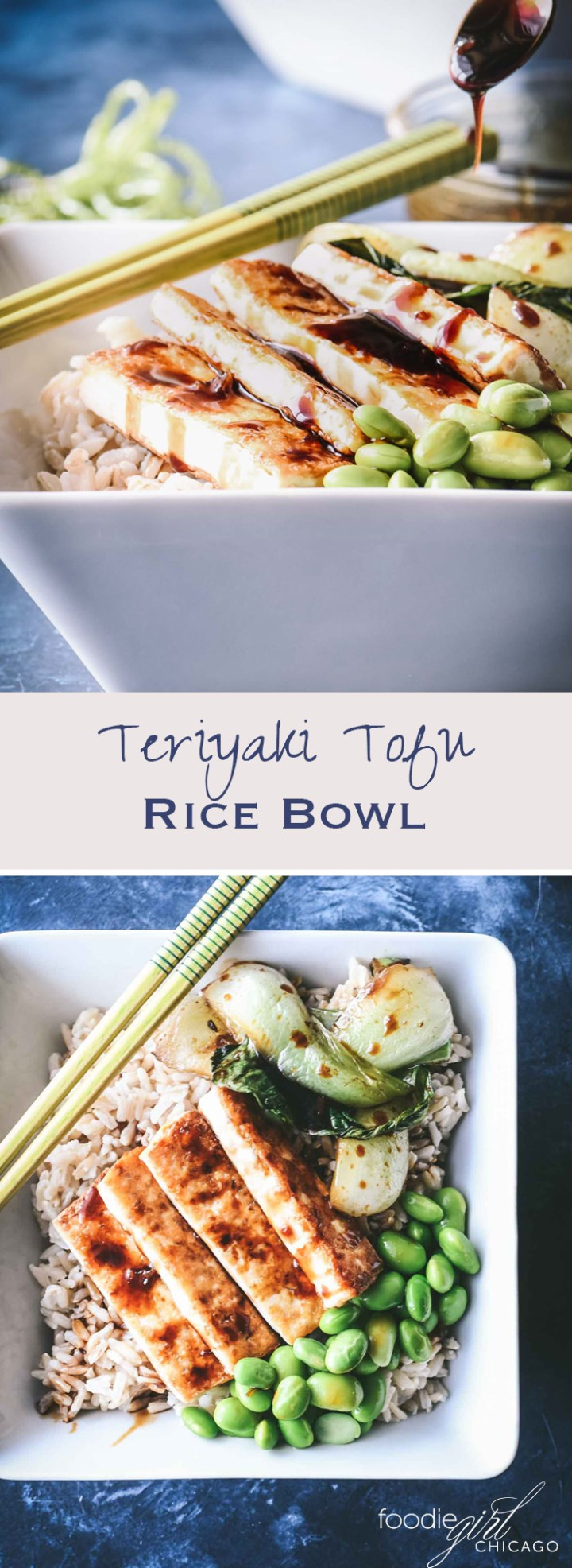 If you are looking for a great healthy dish for a tasty weeknight meal, look no further than this Crispy Tofu Rice Bowl topped with bok choy and edamame then drizzled with a thick teriyaki glaze!