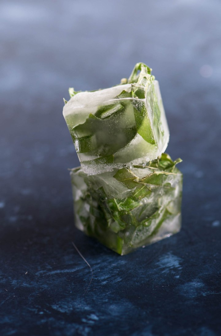Stacked herb ice cubes on a blue background