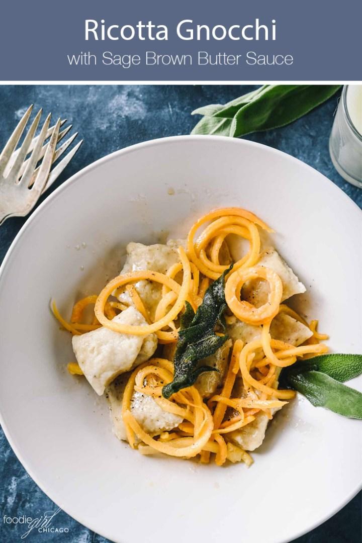 Ricotta gnocchi with butternut spirals in a cream bowl