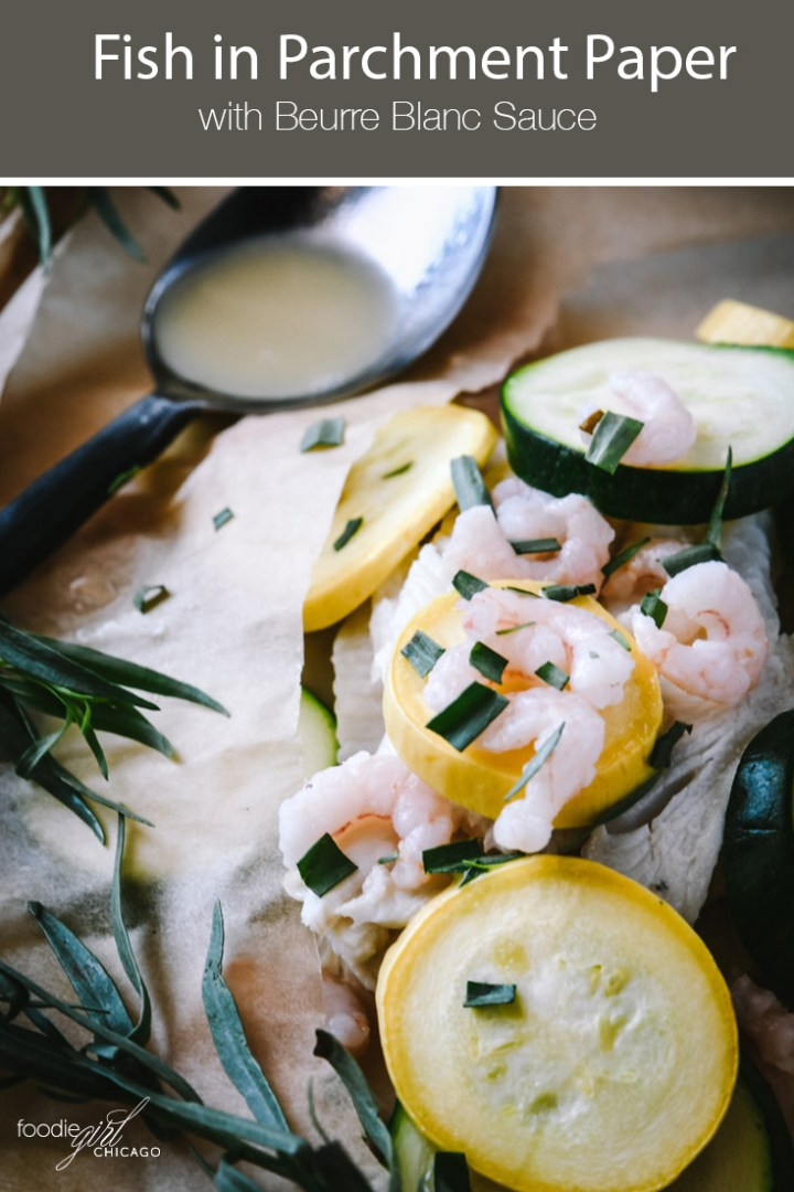 Fish in parchment packet topped with yellow and green squash slices